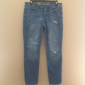 Madewell Light Wash Distressed Ankle Skinny Jeans